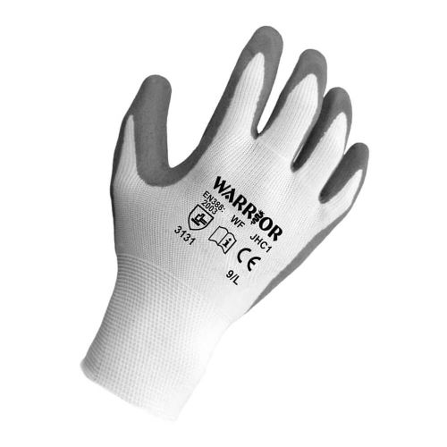 Warrior Grey Nitrile Sponge Lined Gloves - 12 Pairs